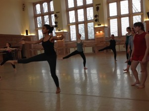 The dancers in Carrie's class practice balancing/shifting weight while maintaining still, upright torsos